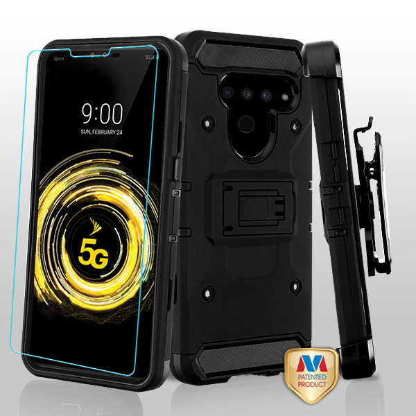 MyBat 3-in-1 Kinetic Hybrid Protector Cover Combo (with Black Holster)(Tempered Glass Screen Protector) for Lg V50 ThinQ - Black / Black