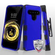MyBat TUFF Hybrid Protector Case Combo (with Black Horizontal Holster) [Military-Grade Certified] for Lg V50 ThinQ - Titanium Dark Blue / Black