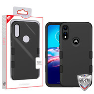 MyBat TUFF Hybrid Phone Protector Cover [Military-Grade Certified] for Motorola Moto E (2020) - Rubberized Black / Black