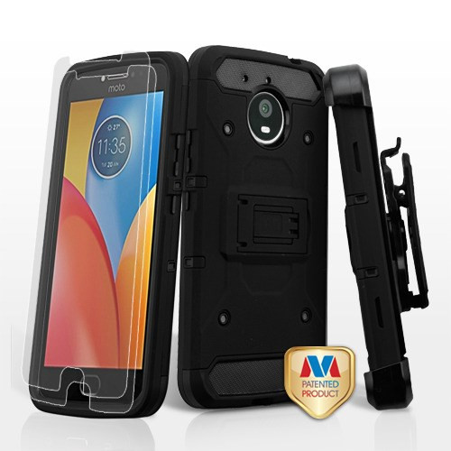 MyBat 3-in-1 Kinetic Hybrid Protector Cover Combo (with Black Holster)(Tempered Glass Screen Protector) for Motorola XT1773 (Moto E4 Plus) - Black / Black