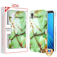 MyBat TUFF Subs Hybrid Case for Motorola Moto E6 - Onice Verde Persiano Marble / Transparent Clear