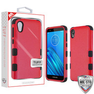 MyBat TUFF Hybrid Protector Cover [Military-Grade Certified] for Motorola Moto E6 - Natural Red / Black