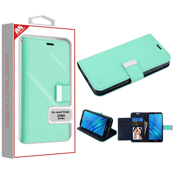 MyBat MyJacket Wallet Xtra Series for Motorola Moto E6 - Teal Green / Dark Blue