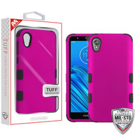 MyBat TUFF Hybrid Protector Cover [Military-Grade Certified] for Motorola Moto E6 - Titanium Solid Hot Pink / Black