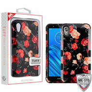 MyBat TUFF Hybrid Protector Cover [Military-Grade Certified] for Motorola Moto E6 - Red and White Roses / Black