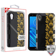 MyBat TUFF Hybrid Protector Cover [Military-Grade Certified] for Motorola Moto E6 - Gold Floral Stripe / Black