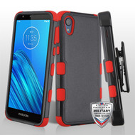 MyBat TUFF Hybrid Protector Case [Military-Grade Certified](with Black Horizontal Holster) for Motorola Moto E6 - Natural Black / Red