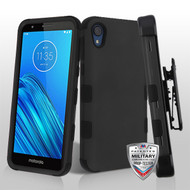 MyBat TUFF Hybrid Protector Case [Military-Grade Certified](with Black Horizontal Holster) for Motorola Moto E6 - Rubberized Black / Black