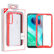 MyBat Hybrid Case for Motorola Moto G Fast - Highly Transparent Clear / Red Splash