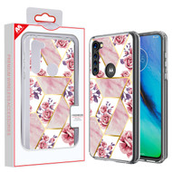 MyBat Fusion Protector Cover for Motorola Moto G Stylus - Electroplated Roses Marbling