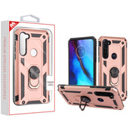 MyBat Anti-Drop Hybrid Protector Cover (with Ring Stand) for Motorola Moto G Stylus - Rose Gold / Black