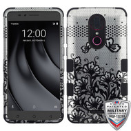 MyBat TUFF Hybrid Protector Cover [Military-Grade Certified] for Coolpad C3701A (Revvl Plus) - Black Lace Flowers (2D Silver) / Black