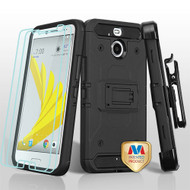 MyBat 3-in-1 Kinetic Hybrid Protector Cover Combo (with Black Holster)(Twin Screen Protectors) for Htc BOLT - Black / Black
