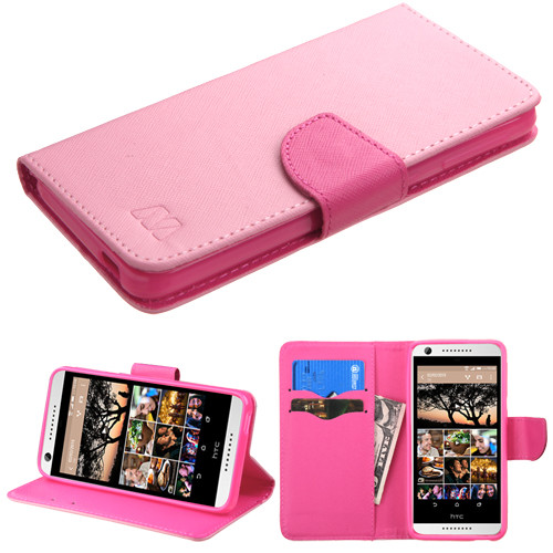 MyBat Liner MyJacket Wallet Crossgrain Series for Htc Desire 626 - Pink Pattern / Hot Pink