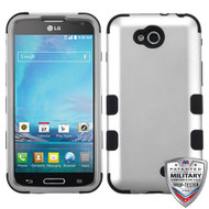 MyBat TUFF Hybrid Protector Cover [Military-Grade Certified] for Lg D415 (Optimus L90) - Rubberized Space Silver / Black