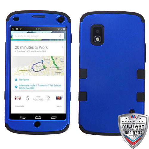 MyBat TUFF Hybrid Protector Cover [Military-Grade Certified] for Lg E960 (Nexus 4) - Titanium Dark Blue / Black