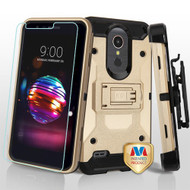 MyBat 3-in-1 Kinetic Hybrid Protector Cover Combo (with Black Holster)(Tempered Glass Screen Protector) for Lg L413DL (Premier Pro) - Gold / Black