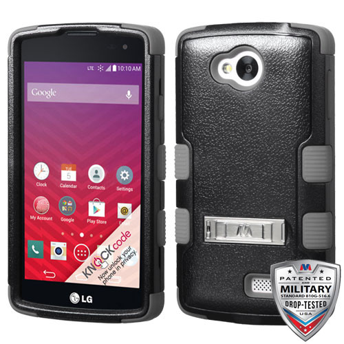 MyBat TUFF Hybrid Protector Cover (with Stand)[Military-Grade Certified] for Lg LS660 (TRIBUTE) - Natural Black / Iron Gray
