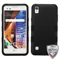 MyBat TUFF Hybrid Protector Cover [Military-Grade Certified] for Lg LS676 (X STYLE) - Rubberized Black / Black