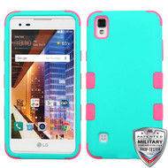 MyBat TUFF Hybrid Protector Cover [Military-Grade Certified] for Lg LS676 (X STYLE) - Rubberized Teal Green / Electric Pink