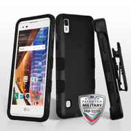 MyBat TUFF Hybrid Protector Case [Military-Grade Certified](with Black Horizontal Holster) for Lg LS676 (X STYLE) - Rubberized Black / Black