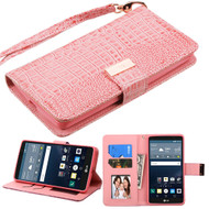 MyBat Crocodile - Embossed  MyJacket Wallet for Lg LS770 (G Stylo) - Pink