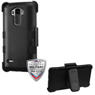 MyBat TUFF Hybrid Protector Cover [Military-Grade Certified](with Black Horizontal Holster) for Lg LS770 (G Stylo) - Natural Black / Black