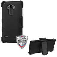 MyBat TUFF Hybrid Protector Cover [Military-Grade Certified] (with Black Holster) for Lg LS770 (G Stylo) - Rubberized Black / Black