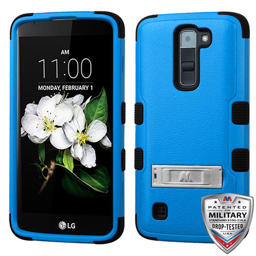 MyBat TUFF Hybrid Protector Cover (with Stand)[Military-Grade Certified] for Lg MS330 (K7) - Natural Dark Blue / Black