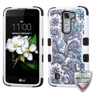 MyBat TUFF Hybrid Protector Cover [Military-Grade Certified] for Lg MS330 (K7) - Purple European Flowers / Black