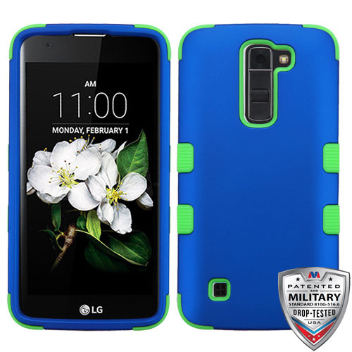 MyBat TUFF Hybrid Protector Cover [Military-Grade Certified] for Lg MS330 (K7) - Titanium Dark Blue / Electric Green
