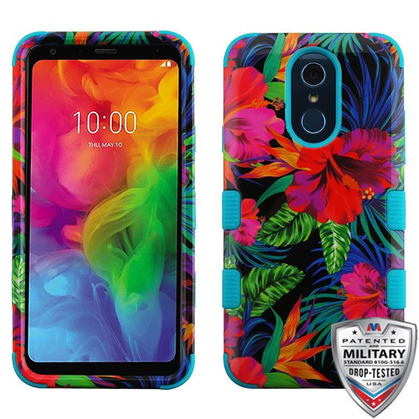 MyBat TUFF Hybrid Protector Cover [Military-Grade Certified] for Lg Q7 - Electric Hibiscus / Tropical Teal