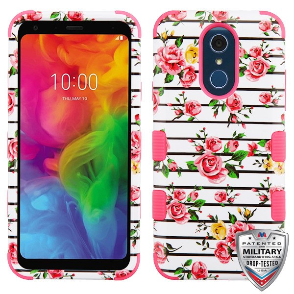 MyBat TUFF Hybrid Protector Cover [Military-Grade Certified] for Lg Q7 - Pink Fresh Roses / Electric Pink