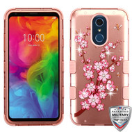 MyBat TUFF Hybrid Protector Cover (with Diamonds)[Military-Grade Certified] for Lg Q7 - Spring Flowers (2D Rose Gold) / Rose Gold