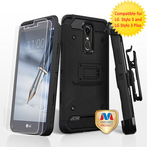 MyBat 3-in-1 Kinetic Hybrid Protector Cover Combo (with Black Holster)(Twin Screen Protectors) for Lg Stylo 3 Plus - Black / Black