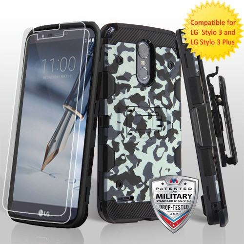 MyBat 3-in-1 Storm Tank Hybrid Protector Cover Combo (with Black Holster)(Twin Screen Protectors)[Military-Grade Certified] for Lg Stylo 3 Plus - Urban Camouflage / Black