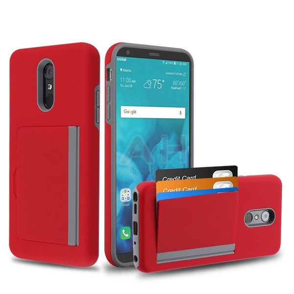 MyBat Poket Hybrid Protector Cover (with Back Film) for Lg Stylo 4 Plus - Red / Gray