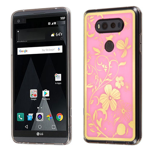 MyBat Gummy Cover for Lg V20 - Phoenix-tail Flowers Electroplating (Pink) / Transparent Clear