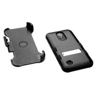 MyBat TUFF Hybrid Protector Case (with Stand)[Military-Grade Certified](with Black Horizontal Holster) for Lg V5/TP2608 (K20 PLUS) - Natural Black / Black