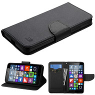 MyBat Liner MyJacket Wallet Crossgrain Series for Microsoft Lumia 640 (T-Mobile/MetroPCS) - Black Pattern / Black