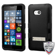 MyBat TUFF Hybrid Protector Cover (with Stand)[Military-Grade Certified] for Microsoft Lumia 640 (T-Mobile/MetroPCS) - Natural Black / Black