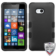 MyBat TUFF Hybrid Protector Cover [Military-Grade Certified] for Microsoft Lumia 640 (T-Mobile/MetroPCS) - Rubberized Black / Black