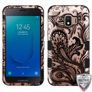 MyBat TUFF Hybrid Protector Cover [Military-Grade Certified] for Samsung J260 (Galaxy J2 Core) - Phoenix Flower (2D Rose Gold) / Black