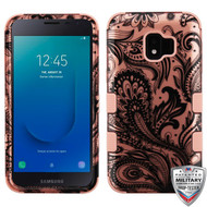 MyBat TUFF Hybrid Protector Cover [Military-Grade Certified] for Samsung J260 (Galaxy J2 Core) - Phoenix Flower (2D Rose Gold) / Rose Gold