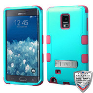 MyBat TUFF Hybrid Protector Cover (with Stand)[Military-Grade Certified] for Samsung N915T (Galaxy Note Edge) - Natural Teal Green / Electric Pink