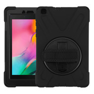 MyBat Rotatable Stand Protector Cover (with Wristband) for Samsung T290 (Galaxy Tab A 8.0 (2019)) - Black / Black