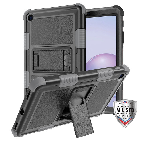 MyBat TUFF Hybrid Protector Case (with Stand)[Military-Grade Certified] for Samsung T307 (Galaxy Tab A 8.4 (2020)) - Natural Black / Iron Gray