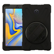 MyBat Rotatable Stand Protector Cover (with Wristband) for Samsung T387 (Galaxy Tab A 8.0 (2018)) - Black / Black