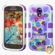 MyBat TUFF Hybrid Protector Cover (with Stand)[Military-Grade Certified] for Samsung T399 (Galaxy Light) - Peace Ladybugs / Electric Purple