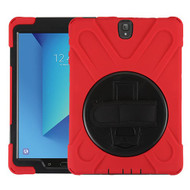MyBat Rotatable Stand Protector Cover (with Wristband) for Samsung T820 (GALAXY TAB S3 9.7) - Black / Red